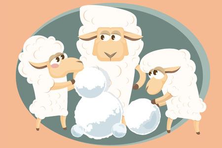 ovejita bebe: Cordero del beb� con la familia est�n haciendo un mu�eco de nieve.