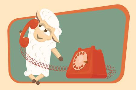 ovejita bebe: Cordero del beb� hace una llamada de tel�fono y sonriente.