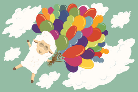 baby lamb: Baby lamb is flying with air balloons in the sky. Illustration