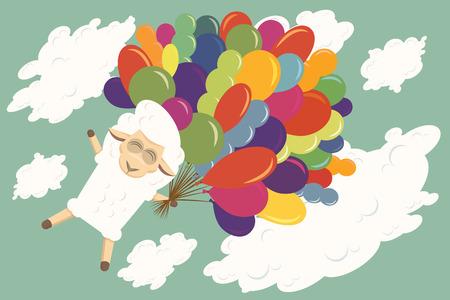 ovejita bebe: Cordero del beb� est� volando con globos de aire en el cielo.
