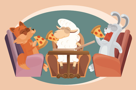 Baby lamb with friends are eating pizza. Vector