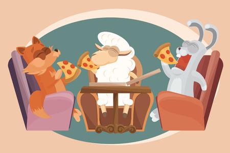 ovejita bebe: Cordero del beb� con los amigos est�n comiendo pizza. Vectores