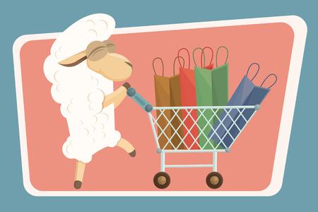 ovejita bebe: Feliz beb� cordero carrito con ruedas con bolsas de la compra.