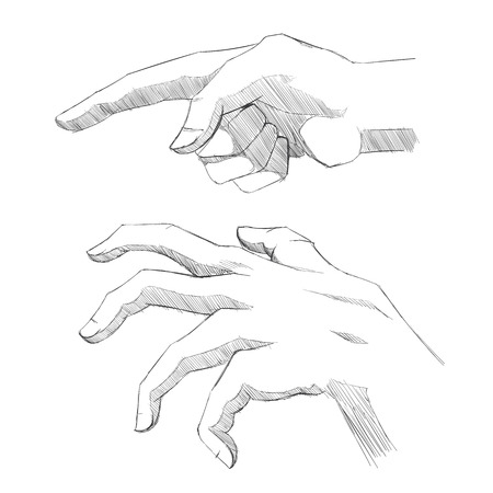 Set of sketch hands. Illustration of human actions and emotions. Vector