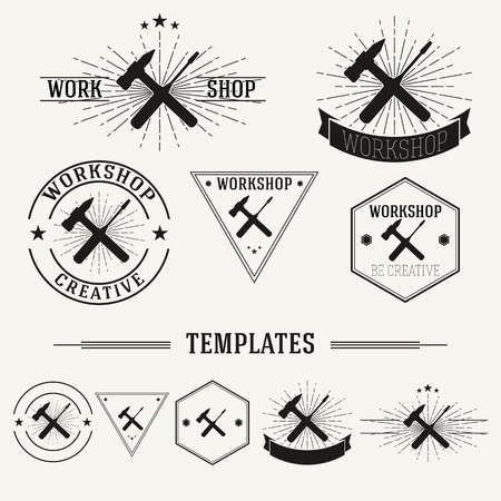 Retro insignias and  set with elements and templates. Vector