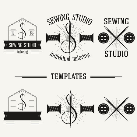 Retro insignias and logotypes set with elements and templates. Vector