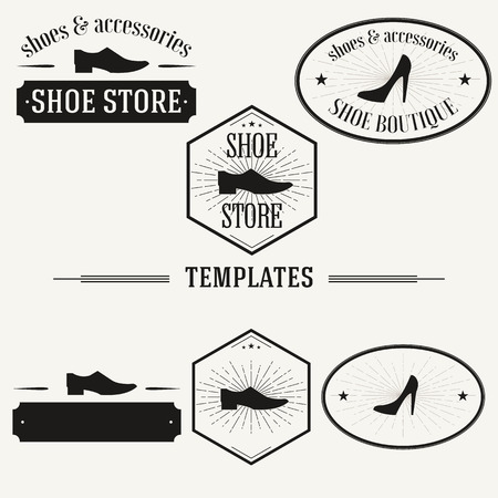 shoe store: Retro insignias and logotypes set with elements and templates. Illustration