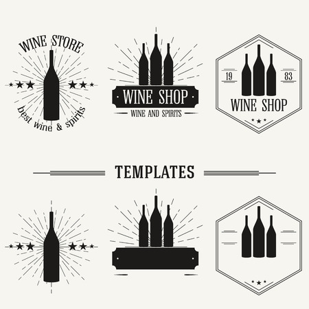 wine label design: Retro insignias and logotypes set with elements and templates. Illustration