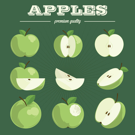apple green: Apples hand-drawn set isolated on a abstract background. Illustration