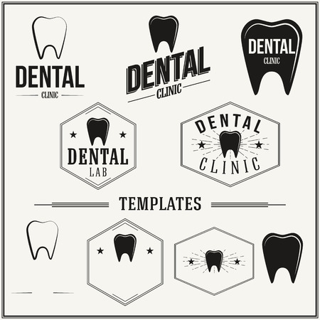 dental clinic: Retro insignias and icon set with elements and templates.