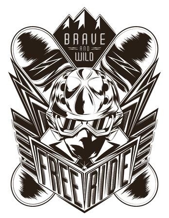 freeride: Vector emblema para la comunidad freeride.