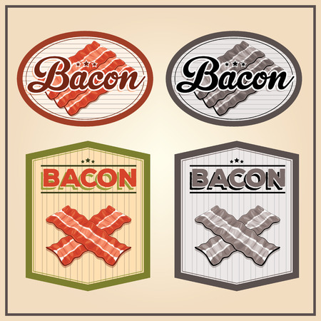 Vector bacon vintage labels for using in different spheres Vector