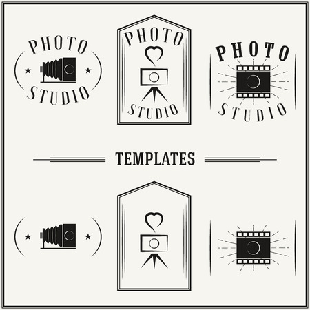logotypes: Retro insignias and logotypes set with elements and templates. Illustration