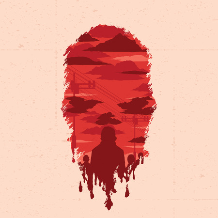 double exposure: Vector zombie head with double exposure effect