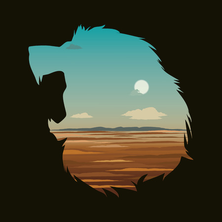 snarl: Double exposure lion head silhouette.Vector illustration. Illustration