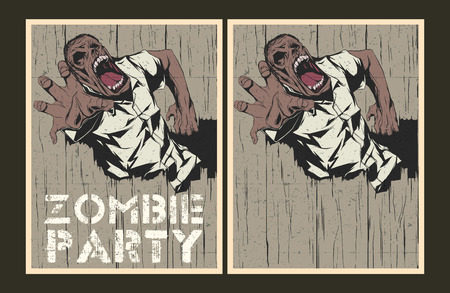 face zombie: Vector party Poster. Zombie party invitation set. Illustration