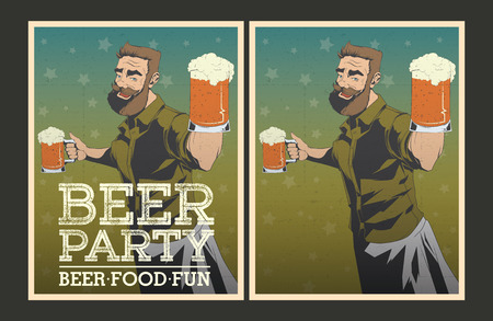 patrik: Set of Beer party posters. Vector illustration and invitation template.