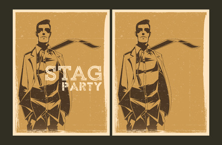 stag party: Set of Stag party posters. Vector illustration and invitation template.