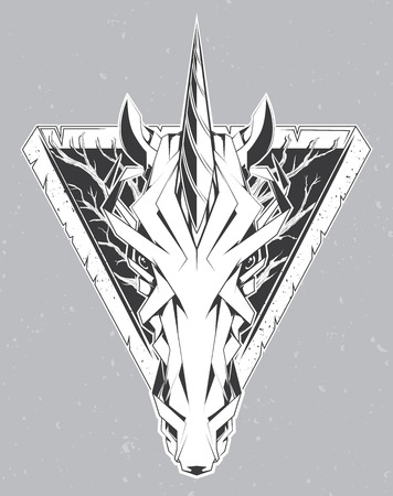 triangles: Unicorn head. Triangle logo for your t-shirt.