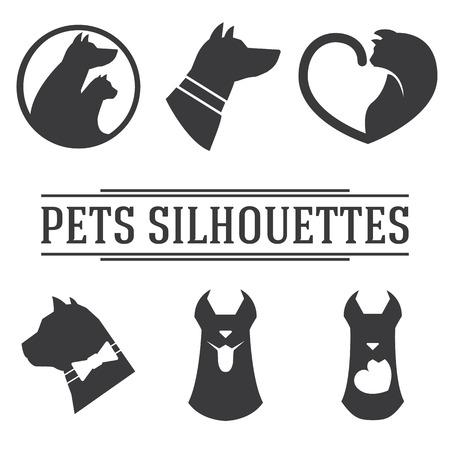 cat dog: Set of cat and dog silhouettes Illustration