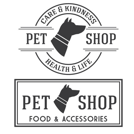 stamp design: Pet shop retro insignias collection