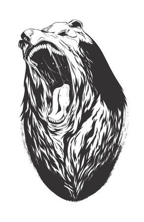 monochromatic: Bear head. Monochromatic logo for your t-shirt.