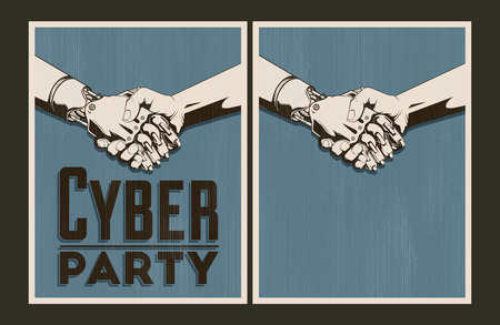 handclasp: Set of Cyber party posters. Vector illustration and invitation template