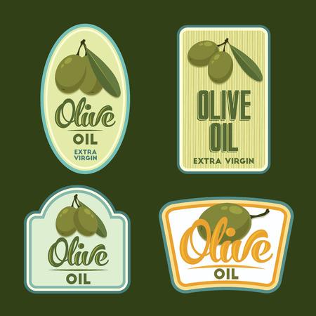aceite de oliva virgen extra: V�rgenes vintage labels aceite de oliva extra. Conjunto de insignias de vectores. Vectores