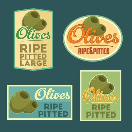 pitted: Ripe Pitted Olives vintage labels. Set of vector badges. Illustration