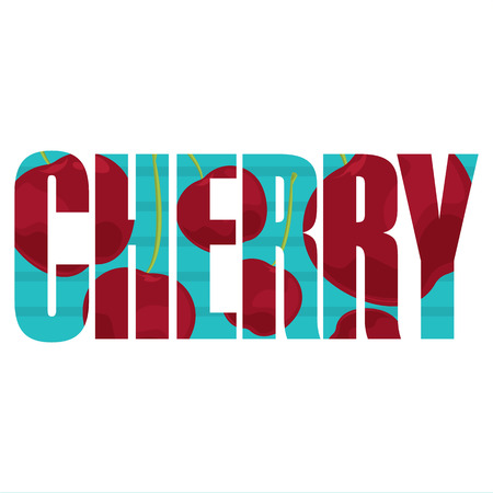 Vector Cherry poster with double exposure effect