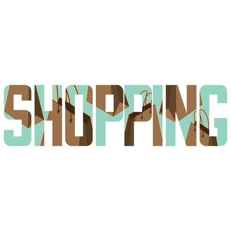 exposure: Vector shopping  poster with double exposure effect