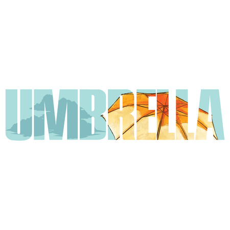 yellow umbrella: Vector yellow umbrella  poster with double exposure effect Illustration