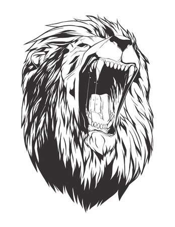 screaming head: Lion head. Monochromatic logo for your t-shirt.
