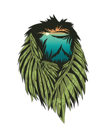 double exposure: Double exposure lion silhouette.Vector illustration.