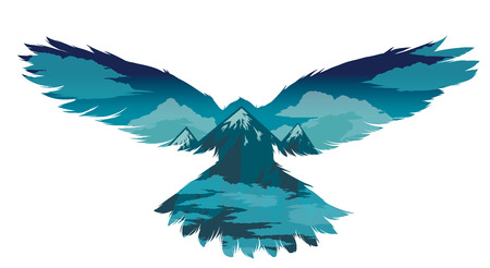 multiple exposure: Bird silhouette with double exposure.Vector illustration.