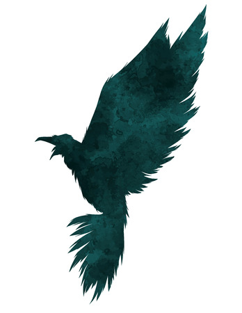 multiple exposure: Bird textured silhouette.Vector illustration.