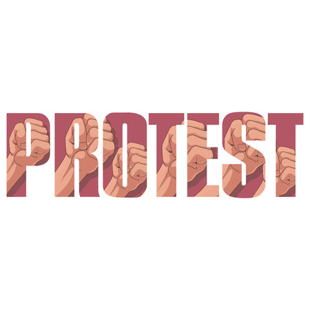 protest poster: Vector protest  poster with double exposure effect