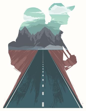 walkway: Travel illustration with double exposure effect.
