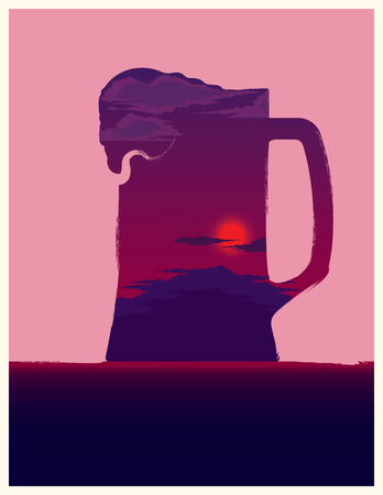 patrik background: Beer mug illustration with double exposure effect.