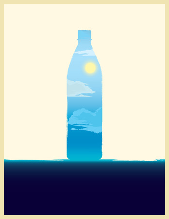 mineral water: Water bottle illustration with double exposure effect. Illustration