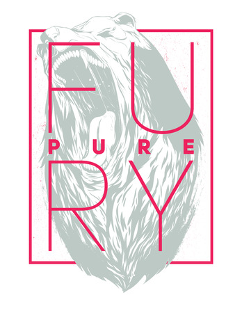 fury: Pure fury illustration with bear head silhouette Illustration