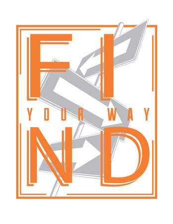 find your way: Find your way illustration with street signs silhouette
