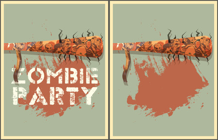 corpse: Zombie party Poster. Zombie party invitation set. Illustration