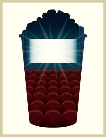 movie and popcorn: Popcorn bucket  illustration with double exposure effect.