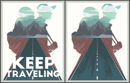 traveling: Keep traveling illustration with double exposure effect.