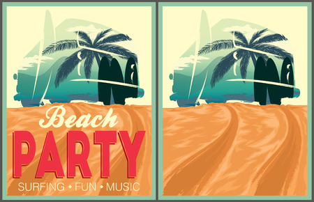 beach illustration: Beach party poster and invitation template. Illustration