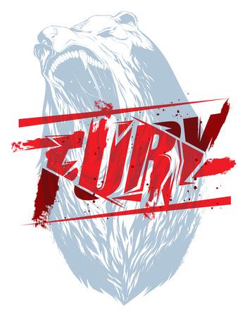 Pure fury illustration with bear head silhouette Illustration