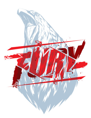 crow: Pure fury illustration with crow head silhouette Illustration
