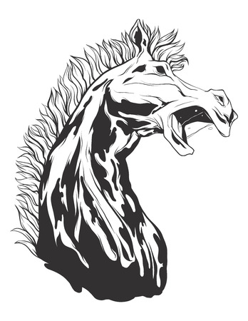 screaming head: Horse head. Monochromatic logo for your t-shirt.