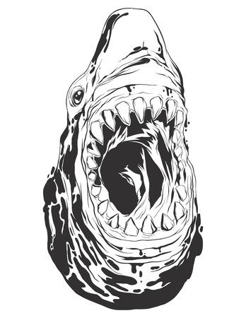 monochromatic: Shark head. Monochromatic logo for your t-shirt.